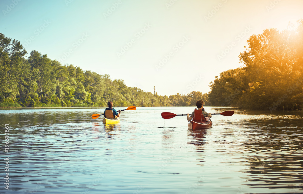 Fototapety, obrazy: A canoe trip on the river in the summer.