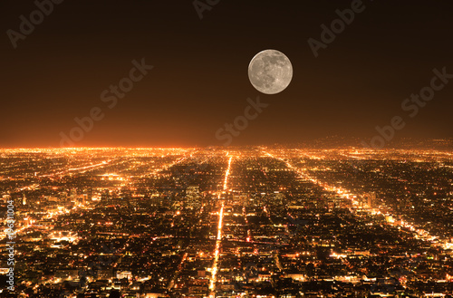 Staande foto Los Angeles Los Angeles traffic. Cityscape panorama at night