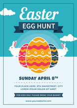 Easter Egg Hunt Flyer With Eggs And Rabbits
