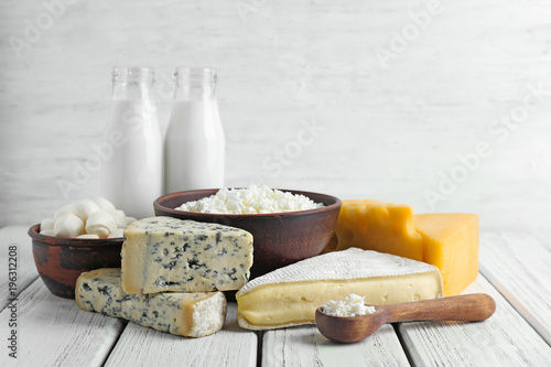 Fotobehang Zuivelproducten Fresh dairy products on table