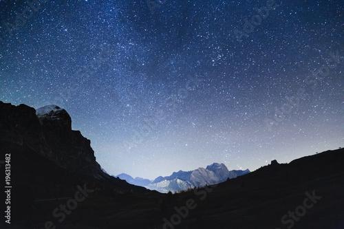 Keuken foto achterwand Zwart Night sky with stars in Dolomites Alps in Italy. View on Tofana di Rozes mountain ridge.