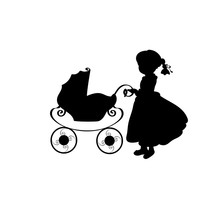 Silhouette Family Girl With Si...