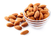 Almonds. Almond Nuts In A Glass Bowl. Almond Isolated.