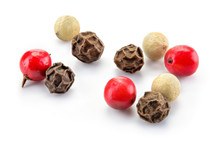 Peppercorns Mix. Black, Red And White Peppercorns Isolated On White. Macro. Full Depth Of Field.