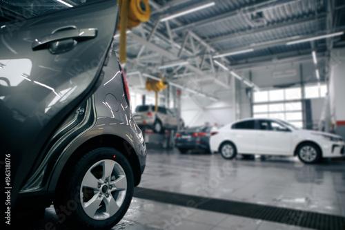 auto repair service station blurred background