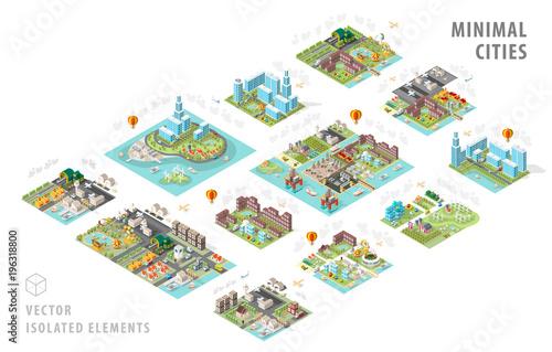 Set of Isolated Isometric Minimal City Maps Fototapeta
