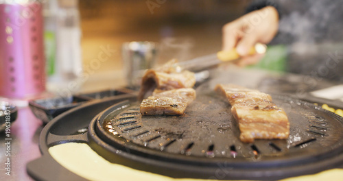 Grilled Korean BBQ in restaurant