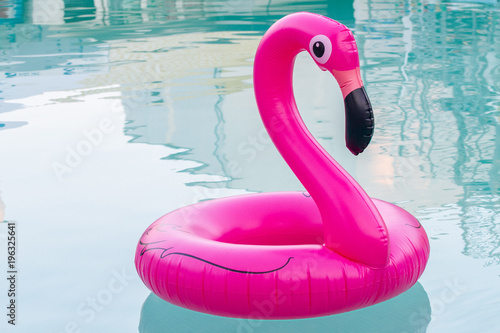The inflatable circle. Pink Flamingo. Summer. Pool.