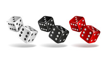 Set Of Falling Dice Isolated On White.