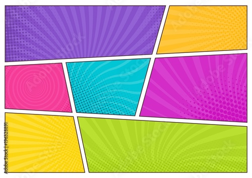 Blank bright colored background templates, decorative backdrops with dotted texture or boxes with dots and rays for comic strip or cartoon story. Modern vector illustration in pop art style.