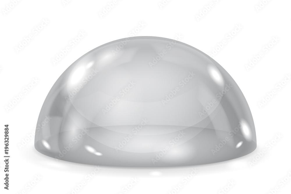 Fototapety, obrazy: Gray glass dome. Shiny transparent semi sphere