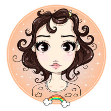 Сute Fashion Teen Girl, Little Miss Fashion Girl With Rainbow, Cartoon Character Comics Girl Portrait, Young Woman Vector Illustration
