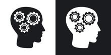 Vector Head Mechanism Icon. Tw...