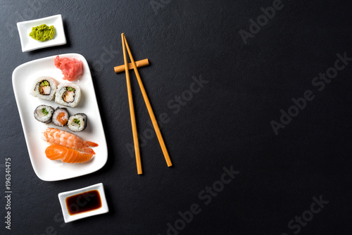Poster Sushi bar Japanese sushi with soy sauce and wasabi