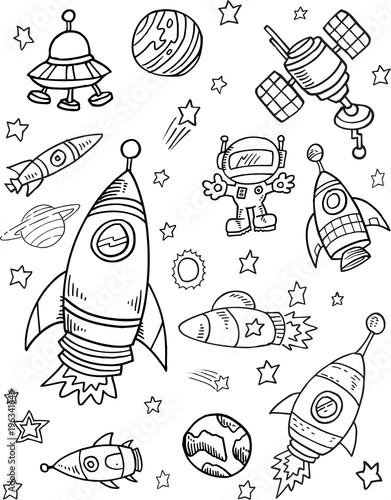In de dag Cartoon draw Space Vector Illustration Art