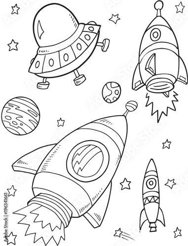 Space Rockets Vector Illustration Art