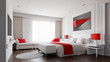 Leinwanddruck Bild - Hotel room with color concept 3d rendering