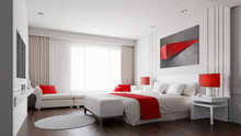 Hotel Room With Color Concept ...