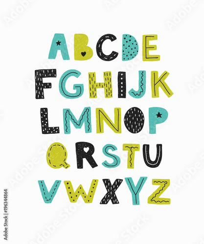 Plakat abecadło - alfabet alphabet-hand-drawn-letters-isolated