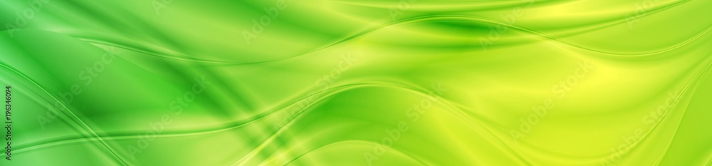 Fototapeta Abstract shiny bright green waves banner design