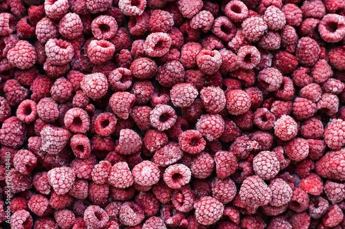 Obraz View from above on frozen raspberries. - fototapety do salonu