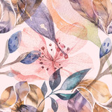 Boho seamless watercolor pattern of feathers and wild flowers, leaves, branches flowers, illustration, love and feathers, bohemian decoration spring blossom - 196349665