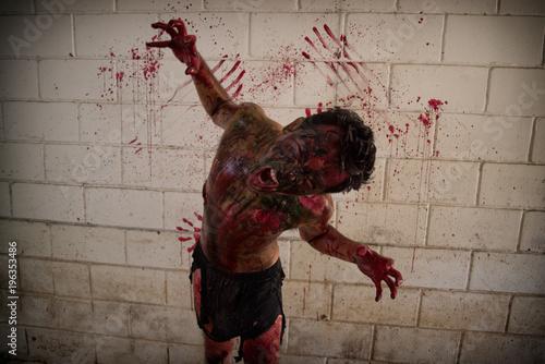 Obraz na plátne the scary zombie Horrible scary zombie