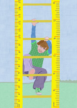 Boy Climbing A Ruler Ladder