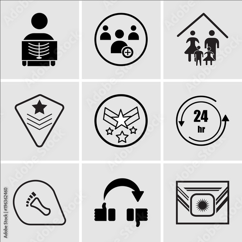 15cb5940 Set Of 9 simple editable icons such as Airforce, flip over, podiatry, 24  hr, air force, air force, our family, become a member, radiologist, can be  used for ...