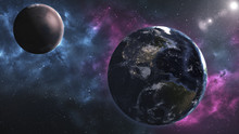 Mars And Earth. Distance Between Them. The Elements Of This Image Furnished By NASA..