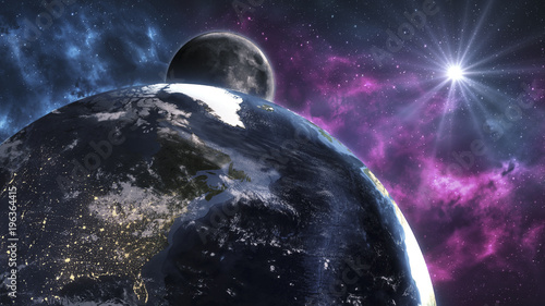 Cosmic landscape, beautiful science fiction wallpaper with endless deep space. Elements of this image furnished by NASA.