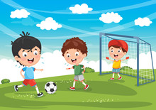 Vector Illustration Of Kid Playing Football