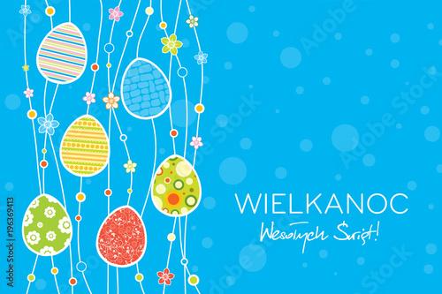 Obraz Wielkanoc Wesołych Świąt, koncepcja kartki z życzeniami w języku polskim, dekoracja z jaj i kropek w tle - fototapety do salonu