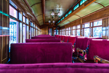 Antique Passenger Car Interior With Red Louver Seats