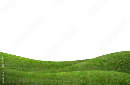 Foto auf Gartenposter Hugel Green grass hill background isolated on white. Outdoor of green meadow background.