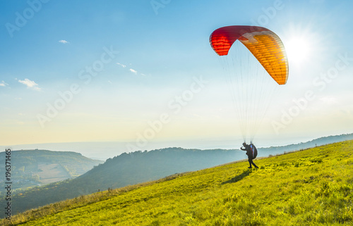 Spoed Foto op Canvas Luchtsport Paraglider on the ground