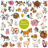 Fototapeta Child room - cartoon funny farm animal characters set