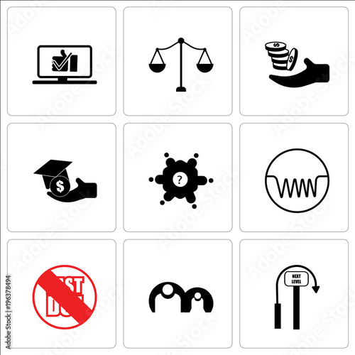 Stampe  Set Of 9 simple editable icons such as next level, generic person, past due, ind