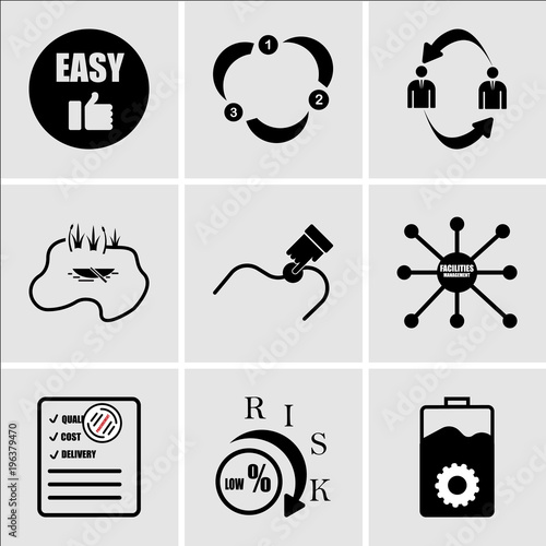 Stampe  Set Of 9 simple editable icons such as operations, lower risk, procurement, faci