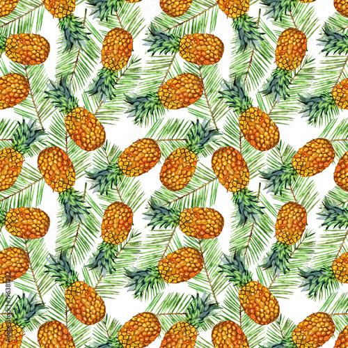 ilustracja-wzor-ananasa-akwarela