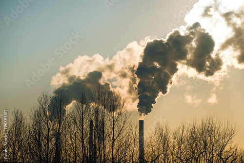 Fotografia, Obraz thick smoke belching from factory chimneys