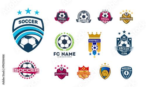 Fotografia, Obraz  Set of Various Soccer Football Badge logo designs, Soccer Emblem logo template v