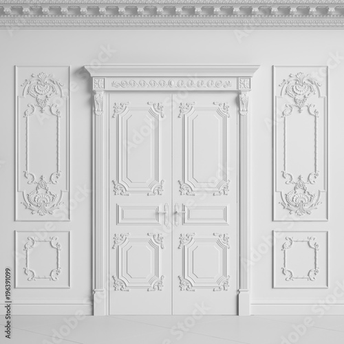 Classic interior wall with cornice and moldings Doors with