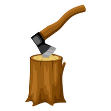 Axe And Wood Stump. Illustration For Forestry And Lumber Industry