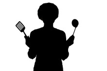 Silhouette Of Woman With Kitchen Tools In Hands In A Cap,on A White Isolated Background, Concept Profession And Homework