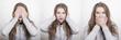 canvas print picture - Frau gestikuliert Konfuzius' Paraphrasen: das Böse nicht sehen, nicht hören, nicht auszusprechen