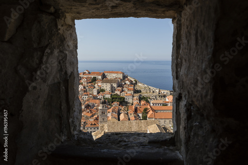 Foto op Plexiglas Cyprus Breathtaking view of the modern Dubrovnik photographed out of window of fortification wall