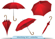 Set Of Vector Red Umbrellas