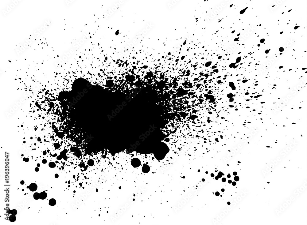 Fototapety, obrazy: Black paint, ink splash, brushes ink droplets, blots. Black ink splatter grunge  background, isolated on white. Vector illustration