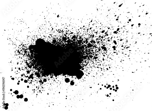 Acrylic Prints Form Black paint, ink splash, brushes ink droplets, blots. Black ink splatter grunge background, isolated on white. Vector illustration